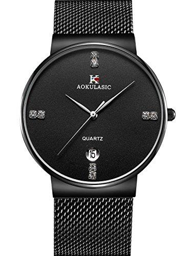 AOKULASIC Fashion Date Analog Quartz Waterproof Wrist Watch with Slim Stainless Steel Mesh Band (Black)
