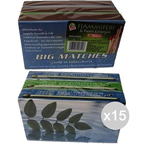 Scheda dettagliata Glooke Selected Set 15 Fiammiferi Maxy Big Match X45 3 Pezzi Art 802 Cucina E La Tavola, Multicolore, Unica
