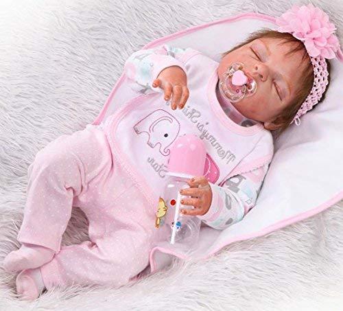 NPK 55 cm Poupée Reborn Baby Dolls en Vinyle Pleine Fleur de 22 inch Poupée Réaliste Correcte pour Bébé Reborn Baby Dolls