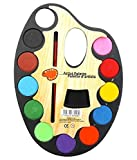 #1: Lukzer Large Artistic Palette Water Colour Set Of 12 With One Artist Paint Brush For Kids