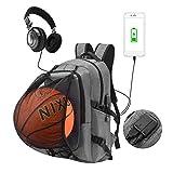 WOTENCE Mochila Antirrobo para Portátil, Reflexivas Multiusos Daypacks con Puerto de Carga USB y Toma de Auriculares Mochila con la Red de Baloncesto, Ideal para Estudiantes/Negocios/Viajes (Gris)