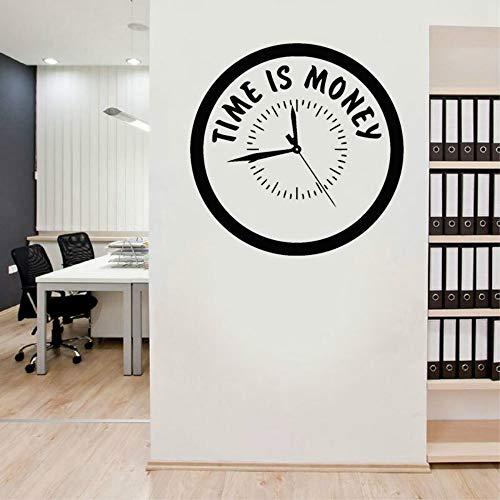 SLQUIET Anpassbare Inspiration Zitat Zeit ist Geld Aufkleber Uhr Stil Vinyl Aufkleber Büro Motivation Wandbild einzigartiges Geschenk Wandaufkleber Marineblau L 57x57cm