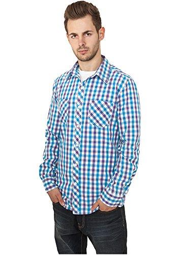 Urban Classics Herren Tricolor Big Checked Shirt TB414, Farbe:purple/white/turquoise;Größe:L