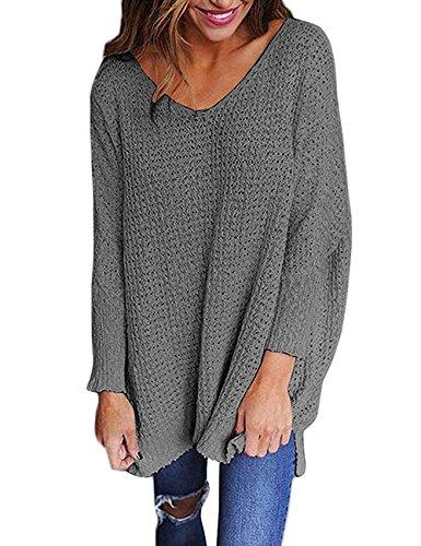 Exlura Damen Strick-Sweater in Overzize Langarm V-Ausschnitt Lockerer Pullover Lässiges Top, Grau, L (Acryl-pullover V-ausschnitt Mit)
