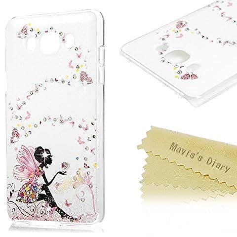Mavis's Diary Coque Samsung Galaxy J7(version 2016)[ne s'adapte à Version 2015] PC Rigide Bling Strass Papillon Fille Dessin Colore Housse de Protection Étui Téléphone Portable Phone Case Cover