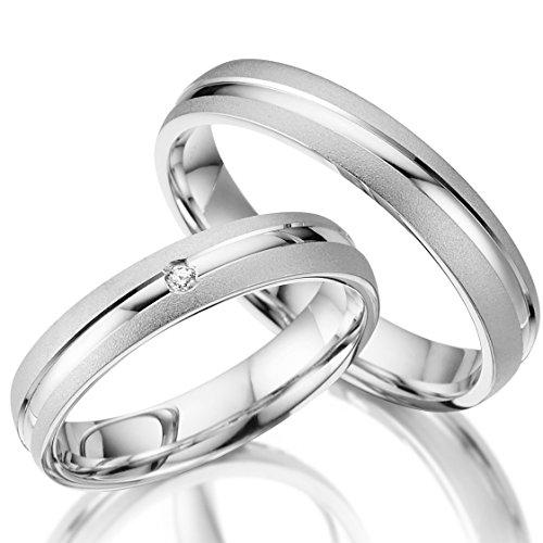 2 x Trauringe 925 Silber PAARPREIS inkl. Swarovski Crystal und Gravur AG.24 Eheringe Wedding Rings Verlobungsring Verlobungsringe Standesamt Heiraten Günstige Ringe Fischer Gerstner Rubin Geschenk (X-ring Swarovski)