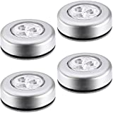 #9: A&T Battery Powered Round White 3 Leds Stick Tap Touch Lamp Night Light (Set Of 4)