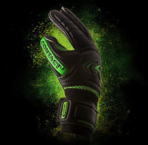 Schwarze Profi-Torwarthandschuhe Contact Stealth All Black (4+3 mm giantGRIP) besondere Handschuh für den besonderen Torwart (10.5)