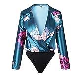 ESAILQ Jumpsuit Damen Elegant Kurz Playsuit Blumenstickerein ärmellos V-Ausschnitt Overall Romper Jumper(L,Grün)