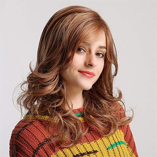 QHJ Damen Perücken Synthetische Perücken Waschbar Chemische Faser Haar Moderne Reizvolle Frau Brown Lockiges Haar Lange Haar Perücke (Braun) (Hellbraun Synthetische Perücke)
