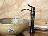 "SUNDELY® Vintage Nordic Style Black Colour 12"" Tall Top Handle Waterfall Faucet Vanity Sink Mixer Tap for Bathroom Toilet Kitchen Basin Sink"