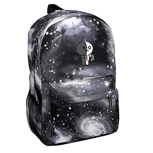 (BTS Bangtanboys Sternhimmel Kinderrucksack Schultasche für Baby Jungen Mädchen Kleinkinder Nylon Backpack Daypack für Schule Arbeit VAN Grau)