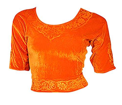 Orange Choli (Sari Oberteil) Samt Gr. 44/46 Gr. XL ideal für Bauchtanz