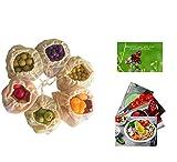 Cushy Family 6er Gemüsenetze aus Bio-Baumwolle für plastikfreien Einkauf - mit Gemüsebeutel...