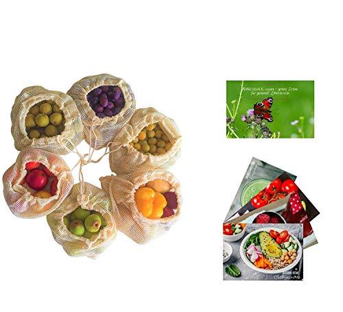 Cushy Family 6er Gemüsenetze aus Bio-Baumwolle für plastikfreien Einkauf INKL. 4 Rezepte & Gesundheitsratgeber