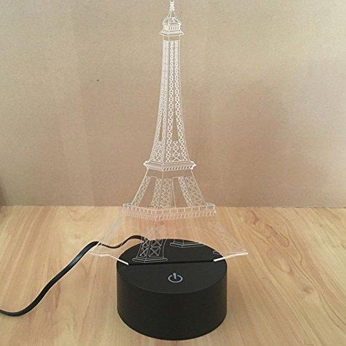 Lampe 3D ILLUSION Lichter der Nacht, kingcoo 7Farben LED Acryl Licht 3D Creative Berührungsschalter Stereo Visual Atmosphäre Schreibtischlampe Tisch-, Geschenk für Weihnachten, Kunststoff, tour Eiffel 0.50 wattsW - 6