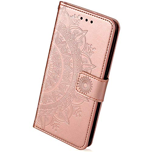 Herbests Handytasche Kompatibel mit Galaxy J4 Plus Lederhülle Luxus Mandala Blumen Handyhülle Ledertasche Bookstyle Klapphülle Flip Case Cover Schutzhülle Mit Magnetverschluss,Rose Gold