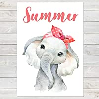 Baby Elephant with Head Band, Cute Personalised Animal Print for Kids, A4 or A3
