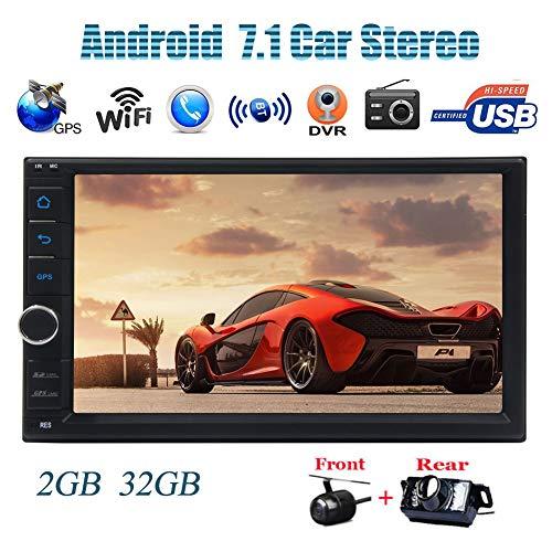 ougat Octa-Core Car Stereo HD 1024 * 600 Bildschirm- GPS-Navigation 7inch-Radio Bluetooth mit kostenloser Karte USB/SD Automotive Head Unit Spieler DVR OBDII Spiegel Link + Fron ()