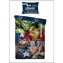 Juego de cama funda nórdica de Avengers 140x 200+ fundas de almohada de Avengers Hulk Iron Man Thor