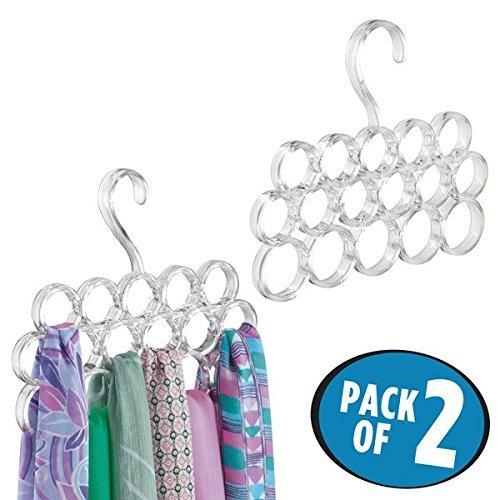 mDesign Juego de 2 perchas para pañuelos – Perchas organizadoras para chales, fulares, bufandas y corbatas – Organizador de armarios para accesorios con 16 prácticos aros – transparente