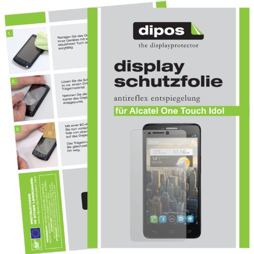 dipos Alcatel One Touch Idol 6030D Schutzfolie (2 Stück) - Antireflex Premium Folie matt