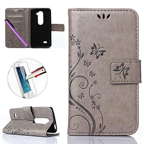 LG Leon h340N Étui portefeuille en cuir, newstars Étui à rabat style livre en cuir PU Portefeuille Motif fleur papillon Coque de protection avec béquille support carte d