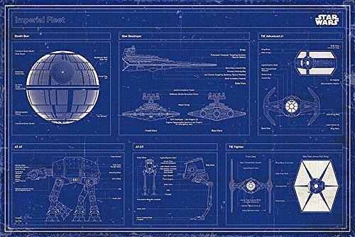 Star Wars Poster Imperial Fleet Blaupause + Original tesa Powerstrips® (1 Pack/20 Stk.) (Star Wars Poster Original)