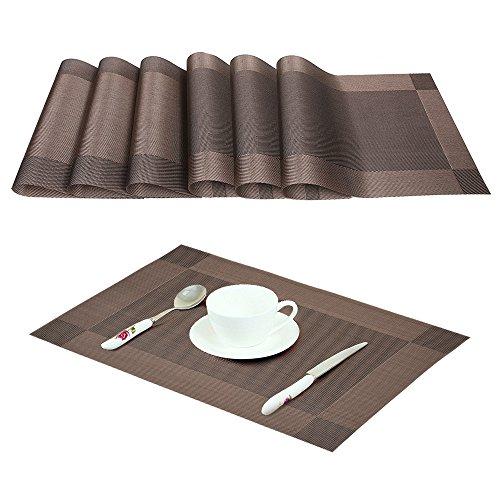 Sunvito 6 stücke rutschfeste gewebt tischsets set, hitzebeständige waschbar tischsets ideal für küche esszimmer (Braun)