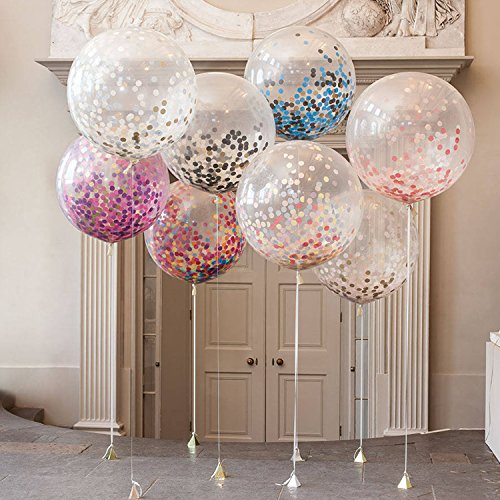lor Konfetti Luftballons, Jumbo Latex Ballon gefüllt mit Multicolor Konfetti für Hochzeit Geburtstag Party Dekoration byTIME4DEALS (Farbe zufällig) (Konfetti Gefüllte Ballons)