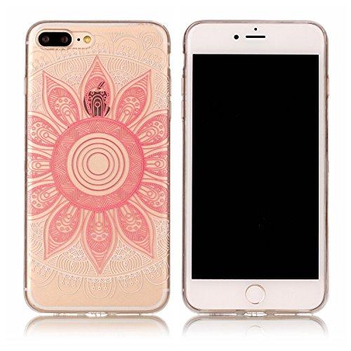 JAWSEU Coque Coquille Housse Étui pour iPhone 7 Plus,iPhone 7 Plus Etui Transparent,iPhone 7 Plus Case en Silicone,Ultra Mince Cristal Clair en Souple Gel Bumper Protecteur Téléphone Coque Etui,Luxe M rose Rudra