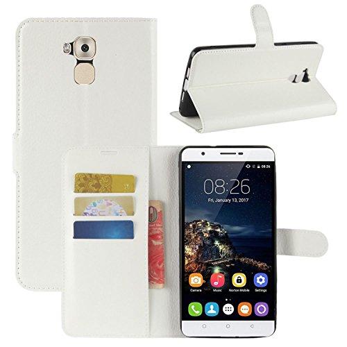 HualuBro Oukitel U16 Max Hülle, Premium PU Leder Leather Wallet HandyHülle Tasche Schutzhülle Flip Case Cover für Oukitel U16 Max Smartphone (Weiß)