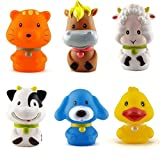 #5: Wishkey Chu Chu Bath Toys For Baby Animal Shape Set of 6 Non Toxic BPA Free