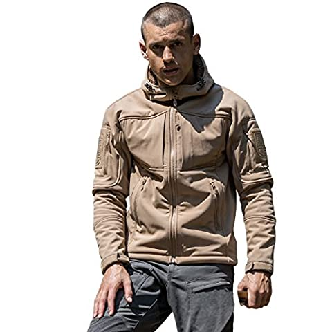 FREE SOLDIER Men's waterproof Crew Midlayer Hooded Jacket Windproof Hiking Ski Mountain Fleece Softshell Jacket (Mud