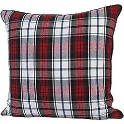 Homescapes Cojín relleno blando y funda algodón decorativa, Patrón Escocés a Cuadros Rojos y Verdes 60 x 60 cm