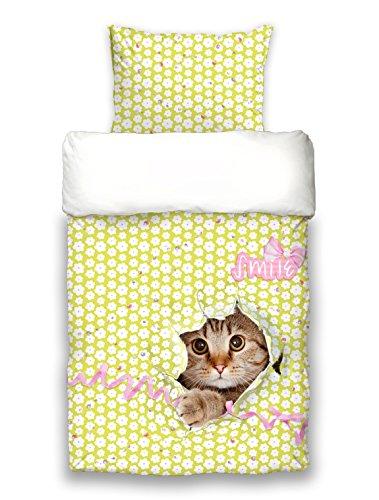 """beties """"Surprise"""" Bettwäsche-Set Wende (135x200 + 80x80 cm) digitaler Katzendruck auf Mako-Satin Baumwolle Farbe weiß-bunt"""
