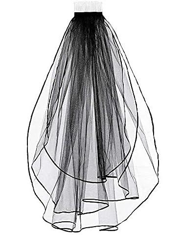 Sarahbridal Damen zweistufig Feintüll Brautschleier Satinkante mit Kamm S11054 Schwarz