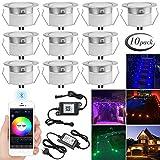 SUBOSI 10er Set Bluetooth RGBWW Led Bodeneinbaustrahle Aussen 1.2W Ø45mm IP67 Wasserdicht LED Einbaustrahler Terrasse Küche Garten Led Lampe Full Kit