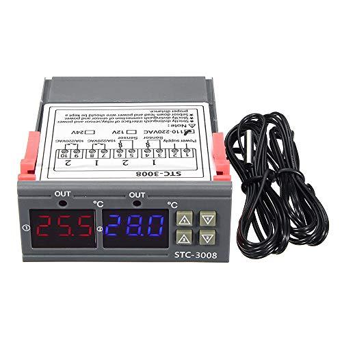 Controlador de temperatura y humedad con sonda 12V/24V/220V regulador,termostato higrostato higrómetro...