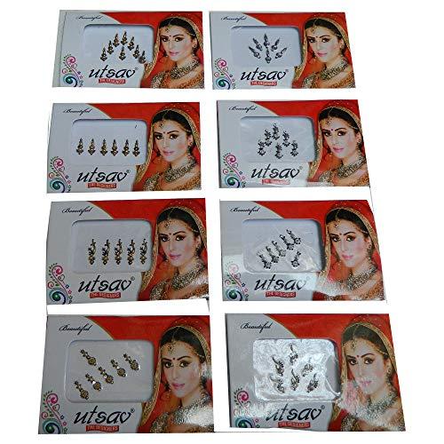 Bindi Paket 8 Kärtchen Mix Pack gold silber Stirnschmuck selbstklebend Bollywood Schmuck