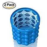 Ice Cube Maker Genie_ Silicone, Ice Bucket With Lid,The Revolutionary Space Saving Ice Cube Maker, Party Drink Tub Silicone Trays Mold Kitchen Tools For Chilling Burbon Whiskey,Cocktail,Beverages And More,2 pack