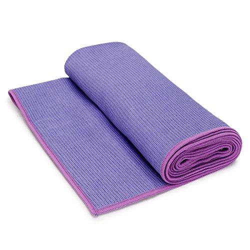 """Ucooly Yoga-Handtücher Rutschfest,(25""""x 73"""") Yoga-Matte Handtücher mit intelligenten Ecken Taschen und Tragetasche,Heiß Yoga-Handtuch Perfekt für Heiße Yoga,Bikram Übung, Sport oder Reisen Lila"""