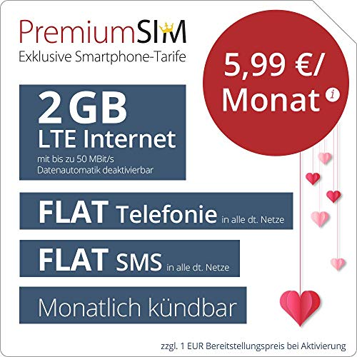PremiumSIM Geschenktarif LTE S - mtl. kündbar (FLAT Internet 2 GB LTE mit max. 50 MBit/s mit deaktivierbarer Datenautomatik, FLAT Telefonie, FLAT SMS und EU-Ausland 5,99 Euro/Monat)