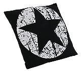 Brandsseller Dekokissen Zierkissen Couchkissen Sofakissen Motivkissen Sterndruck - mit Füllung kuschelig und weich - Größe: 45x45 cm - Schwarz/Weiß