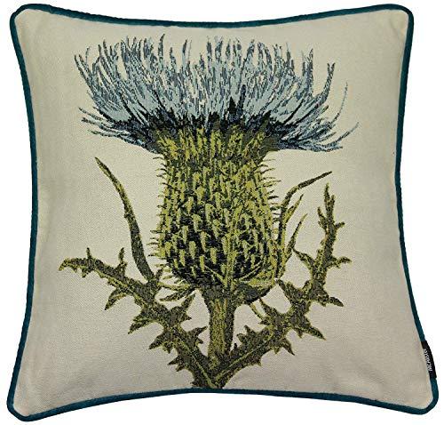 McAlister Textiles Tapestry | Bestickter Kissenbezug Blaue Diesteln | 40 x 40cm Größe | gewobenes Blumen-Motiv | Deko Kissenhülle für Sofa, Couch, Garten -
