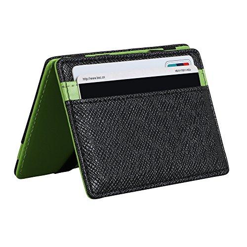 Vicloon portafoglio magica,portafoglio bifold magico in pelle supporto di carta della borsa - verde