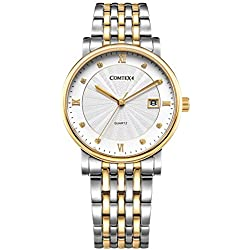 Comtex Men's Watch with White Dial and Stainless Steel Gold Plated Bracelet Wrist Watch