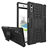 FABCARE Back Cover for Sony Xperia Xz / Sony Xperia Xzs Back Cover Kick Stand Defender Case - Black