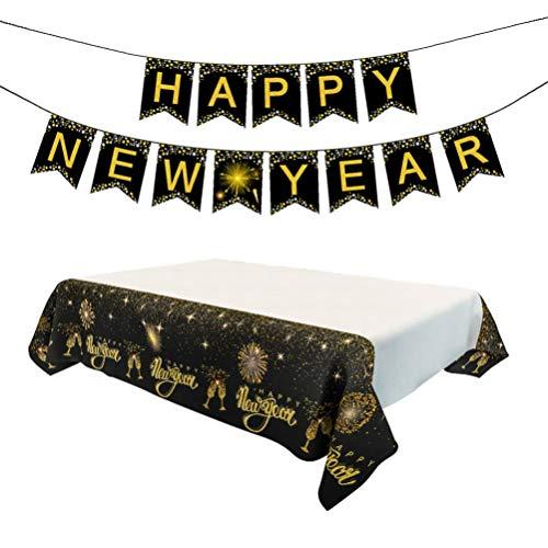 Amosfun brillo año nuevo banner mantel 2020 fiesta