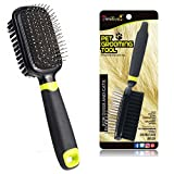 Alfie Pet Grooming Brush - Double Sided 2 in 1 Pin and Bristle Comb - Cleans Pets Shedding & Dirt - for Dogs and Cats Short Medium or Long Hair (Green)